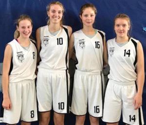 Jule Groll (vormals TV Hörde), Liz Unselt, Lina Holtrichter, Lana Spießbach (vormals New Basket Oberhausen)